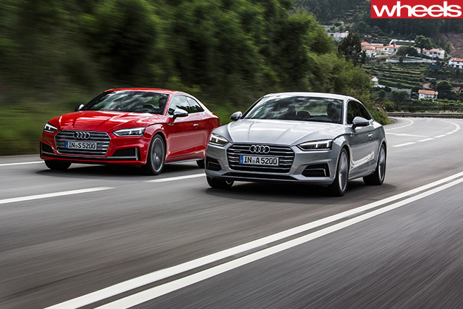 Audi -A5-driving -with -Audi -S5-driving -front
