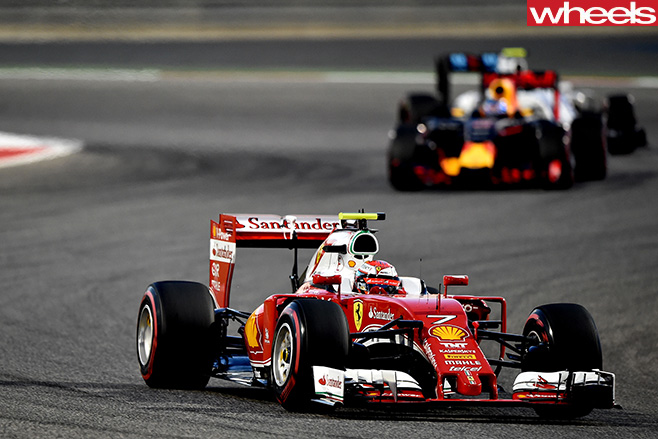 Ferrari -racing -in -front -of -Red -Bull