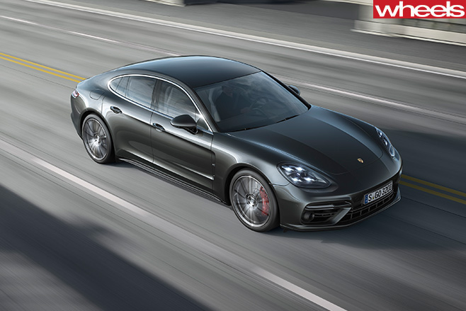 Porsche -Panamera -driving -top -front -side