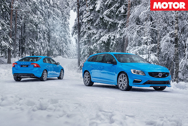 Volvos in the snow