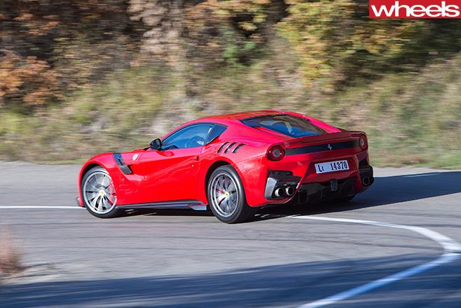Ferrari -F12-tdf -rear -side -driving