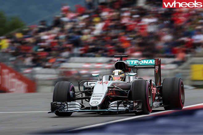Mercedes -F1-racing -car -driving -front