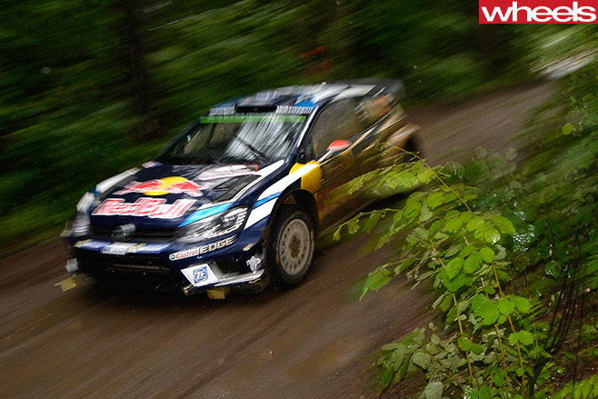 VW-rally -car -driving -fast -front