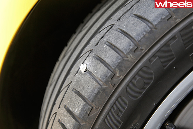 Nail -stuck -in -Holden -Astra -GTC-tyre