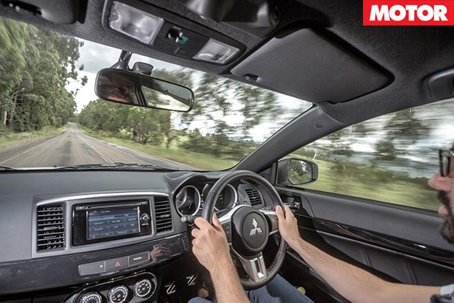 Mitsubishi Lancer Evolution onboard view