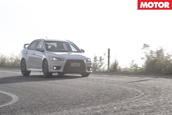 Mitsubishi Lancer Evolution final edition turning right