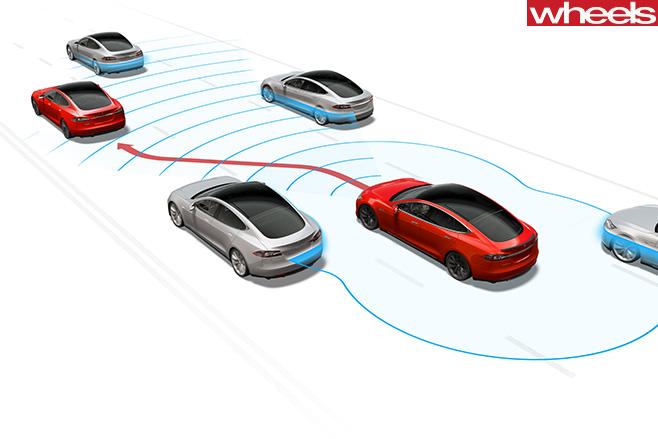 Tesla -Model -S-driving -traffic