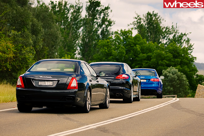 Audi -RS6-and -Porsche -Panamera -Maserati -Quattroporte -rear