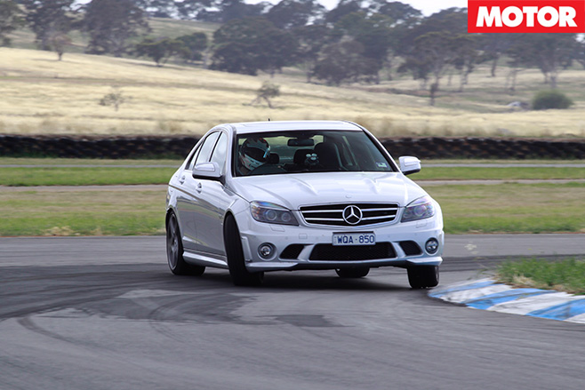 Mercedes-Benz C63 driving front