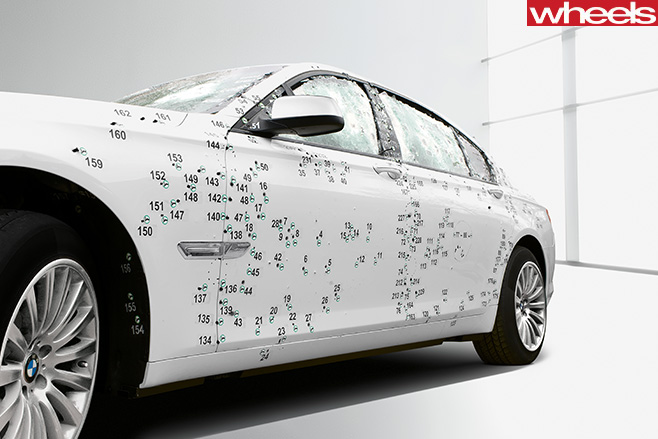 BMW-7-Series -front -side -bullet -holes