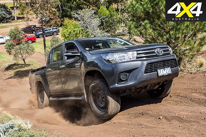 Toyota hilux driving uphill