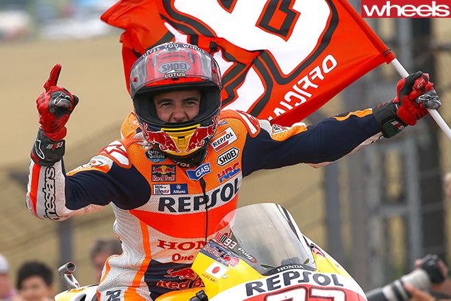 Moto GP-Honda -rider -celebrates