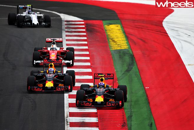 Red -Bull -F1-cars -beating -Ferrari -F1