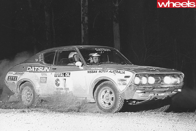 Rauno -Aaltonen -racing -Datsun -rally -car