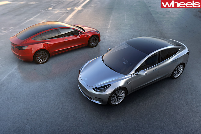 Tesla -Model -3-silver -and -red