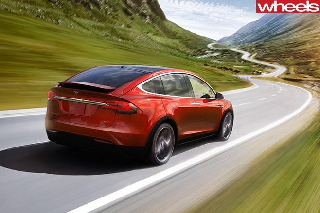 Tesla -Model -X-rear -driving
