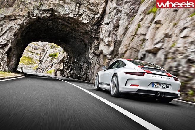 Porsche 911 R rear driving