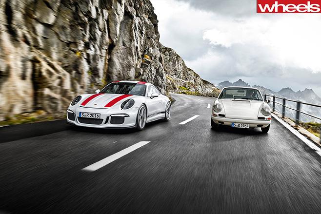 Porsche 911 R driving front