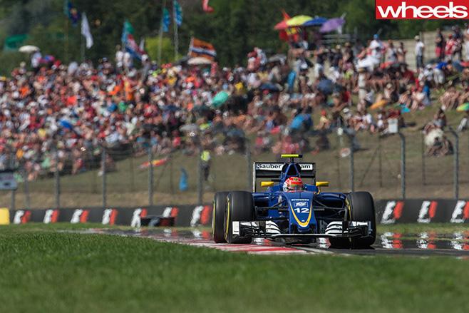 Sauber F1 car driving