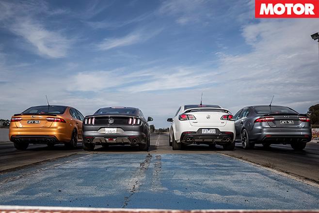 Holden SS-V Redline vs Ford Falcon Sprints vs Ford Mustang GT rear