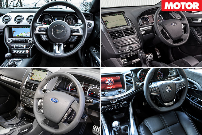 Modern muscle cars interior
