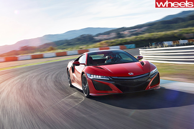 Red -Honda -NSX-driving -front