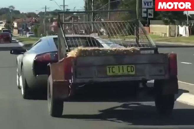 Lamborghini Murcielago caught towing trailer