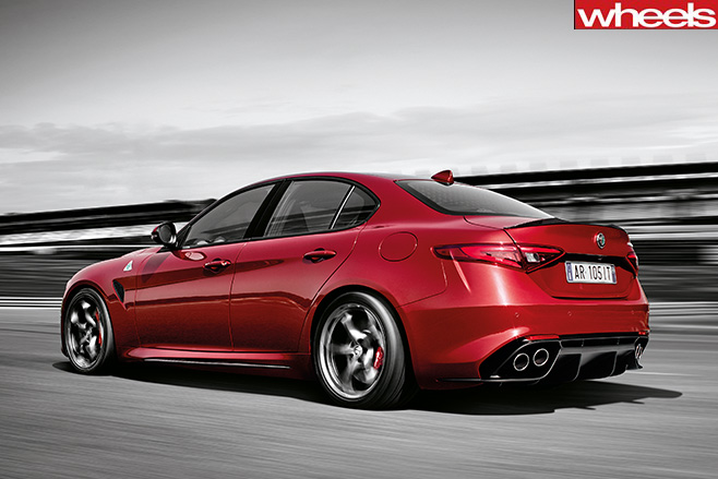 Alfa romeo giulia rear driving