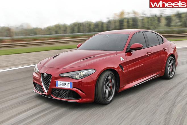 Alfa romeo giulia driving fast