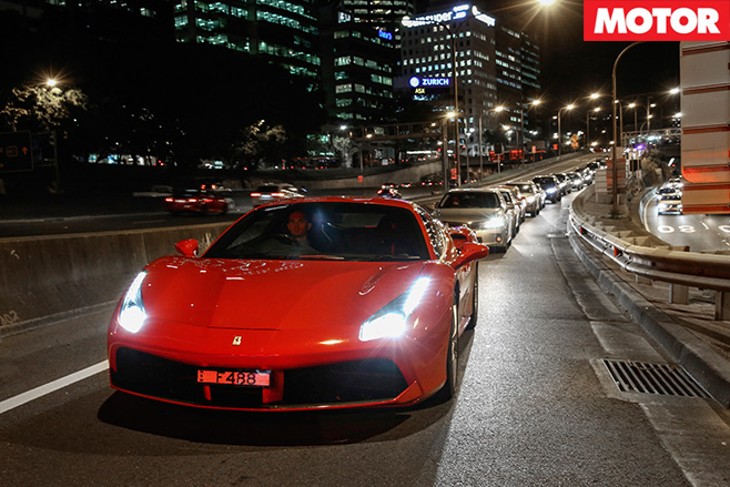 Driving the Ferrari 488 GTB front in traffic