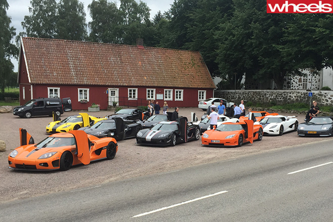 Koenigsegg -supercars -owners -tour -parked