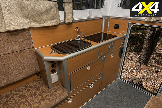 Custom Patrol camper interior sinks