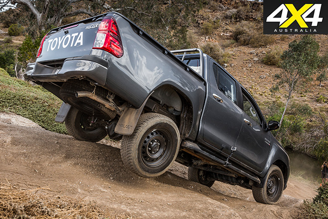 Toyota Hilux driving downhill