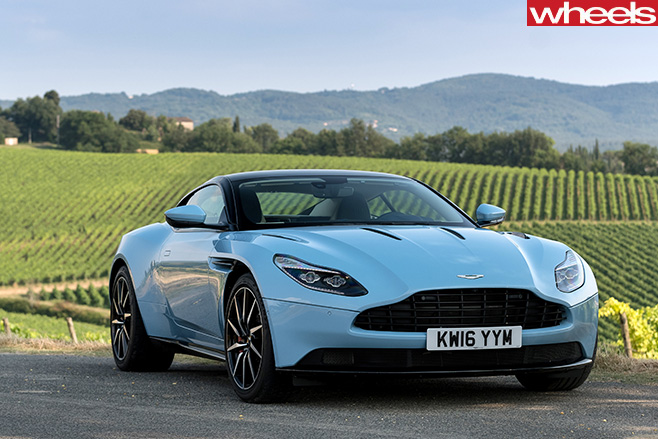 Aston -Martin -DB11-front -side -in -vineyard