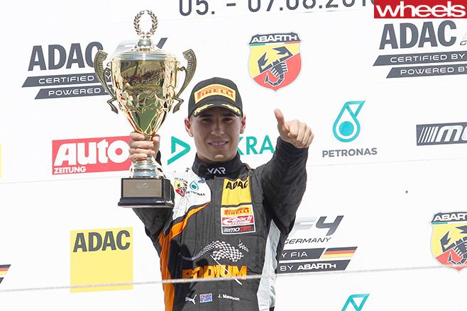 Australia -Formula -4-racing -driver -Joey -Mawson -celebrates