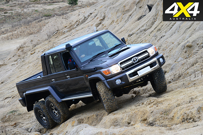 MDT 6x6 landcruiser Scorpian driving in quarry