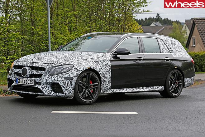 Mercedes -E63-AMG-Estate -front -side -driving