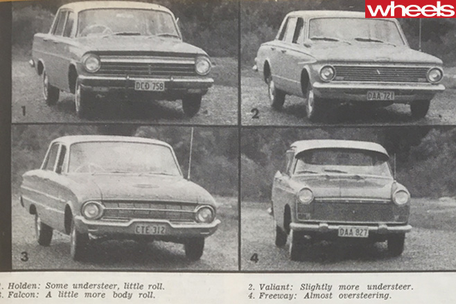 Ford -Falcon -vs -EH-Holden -vs -Austin -Freeway -vs Valiant -handling -characteristics