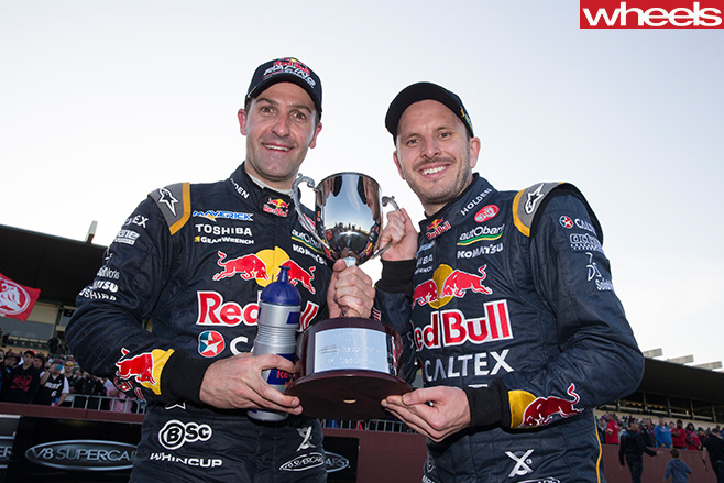 Dumbrell -Whincup -celebrate -win -V8-Supercars