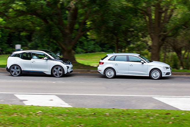BMW-i 3-vs -Audi -A3-e -tron -driving -side
