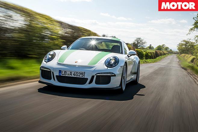 Porsche 911 R driving fast