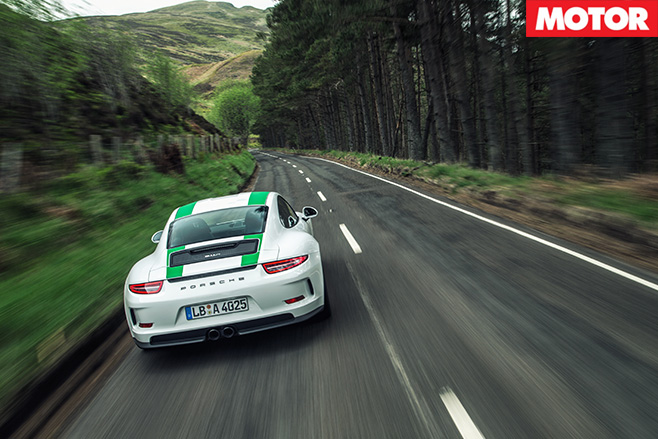 Porsche 911 R rear driving highlands