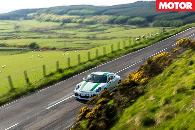 Porsche 911 R aerial view