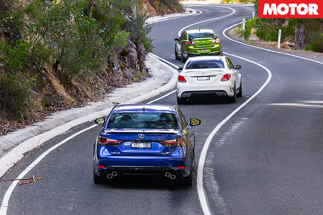 HSV-GTS-vs -Mercedes -AMG-C63-S-vs -Lexus -GS-Fdriving -rear
