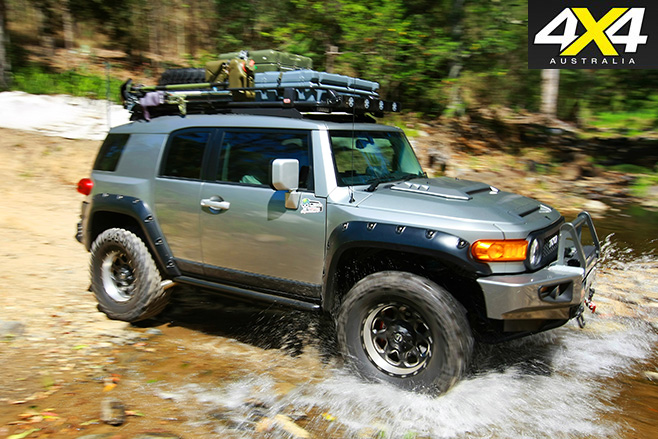 Modified Toyota FJ Cruiser driving hard