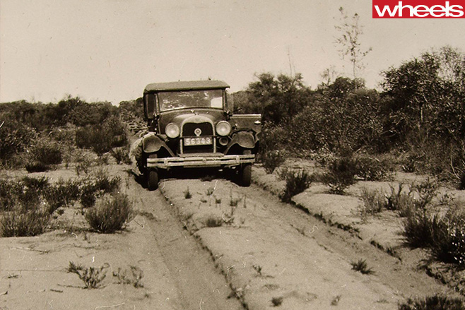 Historical -Ford -driving -dirt -road