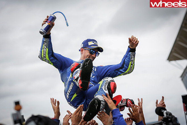 Vinales -crowd -surfing -after -winning -Moto GP-race