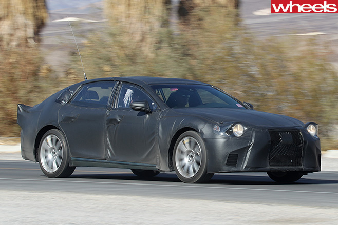 2018-Lexus -LS-spy -pic -driving -front -side