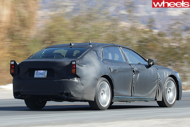 2018-Lexus -LS-spy -pic -driving -rear -side