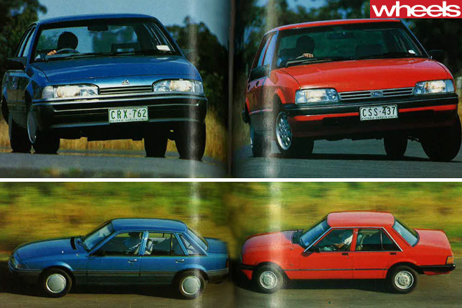 1986-Ford -Falcon -vs -Holden -Commodore -driving
